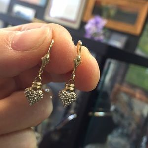10k yellow gold diamond dangle earrings